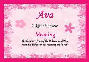 What does the name ava mean in hebrew