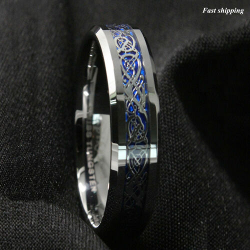 8//6Mm Silvering Celtic Dragon Tungsten Carbide Ring Wedding Band ATOP Jewelry