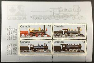 Canada-Post-1984-Locomotives-1860-1905-Souvenir-Sheet-1039a-MNH