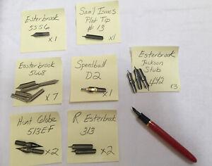 Mixed-Lot-Of-17-Pen-Nibs-ESTERBROOK-5556-5668-313-442-Sam-l-Isaacs-13-HG-513EF