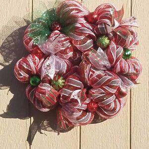 image is loading handmade christmas mesh wreath - Christmas Mesh