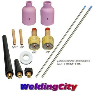 "Blue 3//32-1//8/"" T60B US Seller TIG Welding Torch 17//26 Kit Lg Gas Lens-Tungsten"