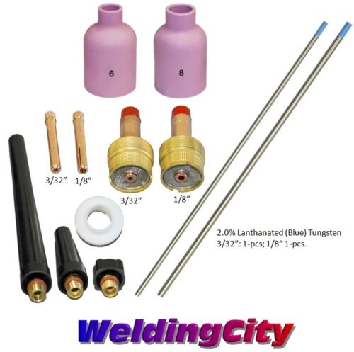 "3//32-1//8/"" T60B US Seller TIG Welding Torch 17//26 Kit Lg Gas Lens-Tungsten Blue"
