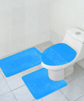 3 PC BATHROOM rug set Large bath rugs contour anti slip Mat lid cover Turquoise