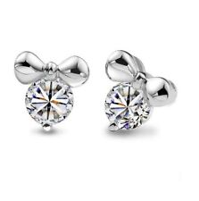 925 Sterling Silver Cubic Zirconia Disney Mickey Mouse Stud Earrings Gift Box C5