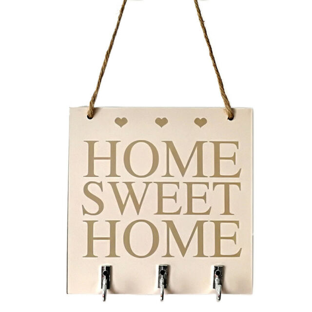 Home Sweet Rustic White Wood Hanging Plaque Sign With Hooks With Key Hanger_AU