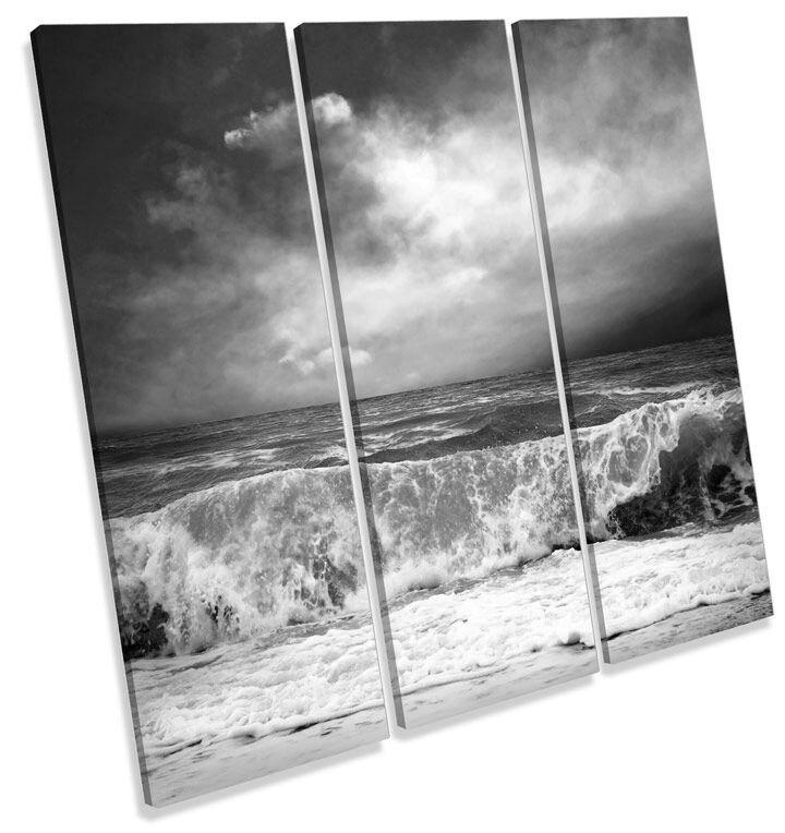 Stormy Playa Onda Paisaje pared Bw LONA pared Paisaje arte Foto impresión cuadrado de agudos 158e18