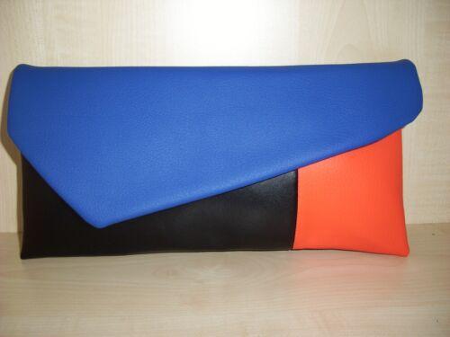 orange /& black color block faux leather clutch bag UK made lined. Royal blue