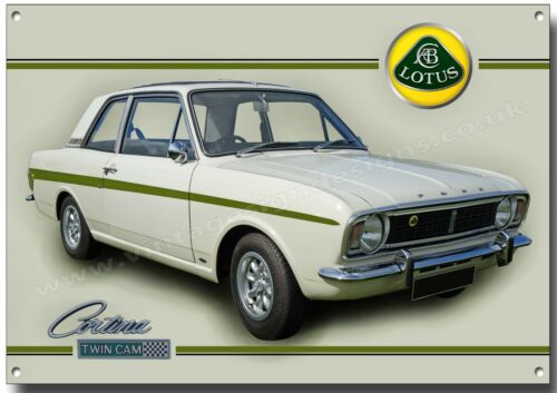 FORD LOTUS CORTINA TWIN CAM METAL SIGN.(A3) SIZE VINTAGE,CLASSIC 1960'S CARS.