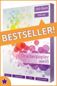 500-Blatt-Kopierpapier-DIN-A4-80g-m-weiss-Qualitaets-Druckerpapier