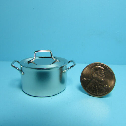 Dollhouse Miniature Silver Metal Cooking Large Stock Pot with Lid B0108A