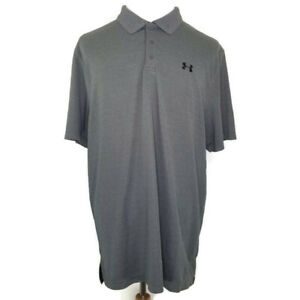 Under-Armour-Heatgear-Loose-Fit-Mens-Size-2XL-Gray-Short-Sleeve-Golf-Polo-Shirt
