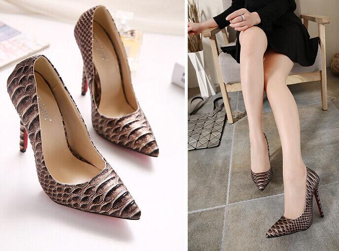 tacón de aguja Zapatos perno salón elegantes mujer talón perno Zapatos 11 marrón cómodo 9316 5abbc7