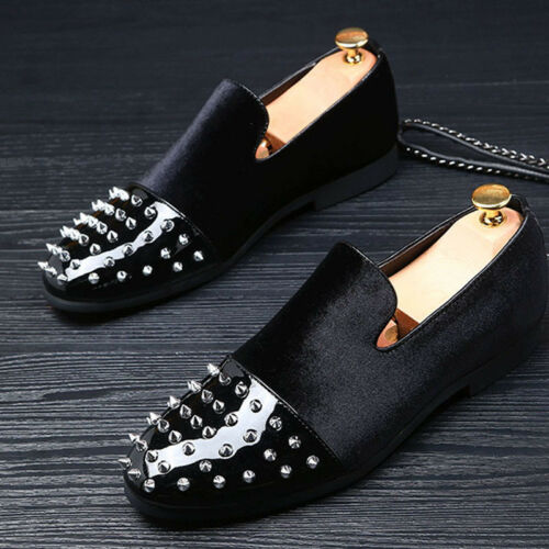 Scarpe Punk Slip Loafers Party da verniciata uomo in pelle Casual Rivet On Banquet Nero qXqwZgr