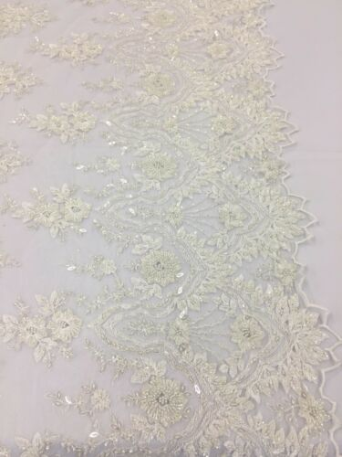 Beaded Fabric For Bridal Wedding Dress Beads /& Sequin Ivory By The Yard