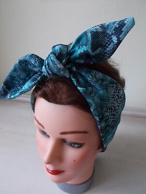 HEAD SCARF HAIR BAND TEAL BLUE STRETCH TIE BOW  ROCKABILLY SWING PIN UP ACTIVE