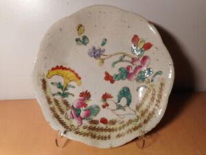Coupe-chinoise-ancienne-porcelaine-Chine-decor-fleur-oiseau-combat-coq