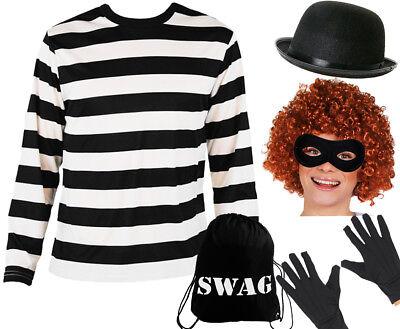ADULT BURGLAR COSTUME ROBBER FANCY DRESS SHORT SLEEVE STRIPE TOP AND EYEMASK