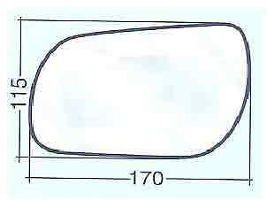 MAZDA 3 DAL 2003/>2008 VETRO SX CURVO CROMATO PER SPECCHIO RETROVISORE 700//31107
