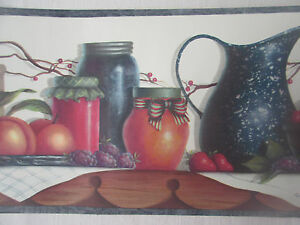 Chesapeake kitchen fruit prepasted vinyl wallpaper border 5 yds washable ebay - Washable wallpaper ...