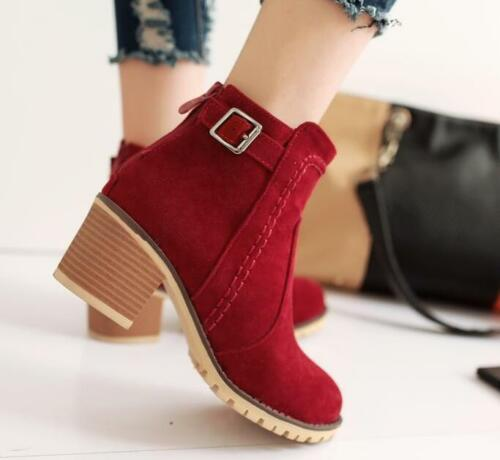 Womens Girls faux suede ankle boots high Block heel back zipper pull on shoes #