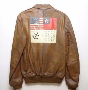 065faafe9 Details about Polo Ralph Lauren A2 Farrington Brown Leather Bomber Flight  Jacket size M