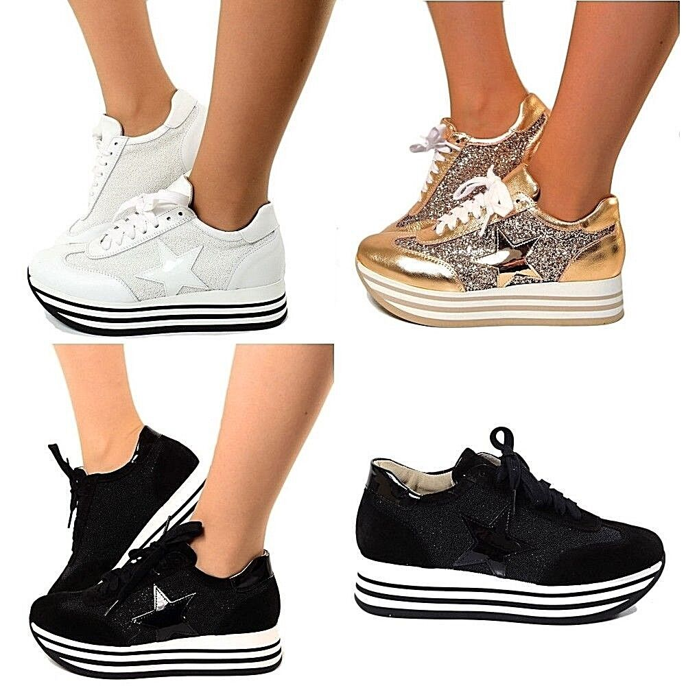 Sneakers Womens Star Platform shoes Wedge Maxi Stripe Tennis Lace Up n2706