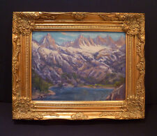 """c1920 OIL BY FREDERICK CARL SMITH """"HIGH SIERRA"""" MOUNTAINS & LAKE - LISTED"""