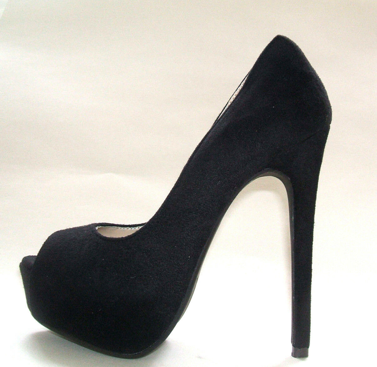 SIZE 3 36 BLACK FAUX SUEDE HIGH HEEL PLATFORM PEEP TOE COURT SHOES BNWB