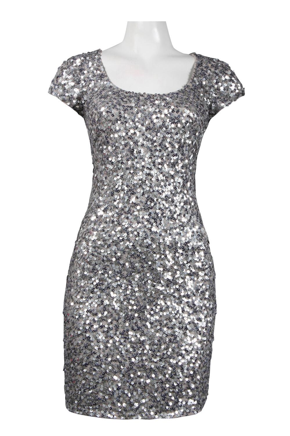 NWOT grått Adrianna Papell Embellished Sheath sequins Klänningsstorlek P10