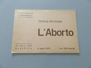 Publicité'Brochure Planche Ronde L'Avortement Barletta 1974