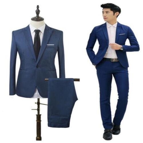 Men/'s Formal Blazer Suit Two-Piece Set Coat Pants Business Dress Jacket Wedding