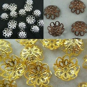 Wholesale-Gold-Silver-Copper-Plated-Flower-Bead-Caps-Jewelry-Findings-10mm-12mm