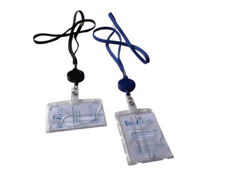 1 Ausweis-Lanyard  schwarz oder blau mit//ohne Yoyo-Kartenhalter aus Polykarbonat