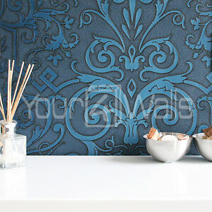 Stunning Versace \'Damask\' Designer Luxury Motif Wallpaper Deep ...