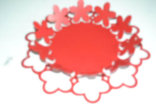 dekorativer Teller Schale Metall Blumenteller 30 cm rot Tisch Deko