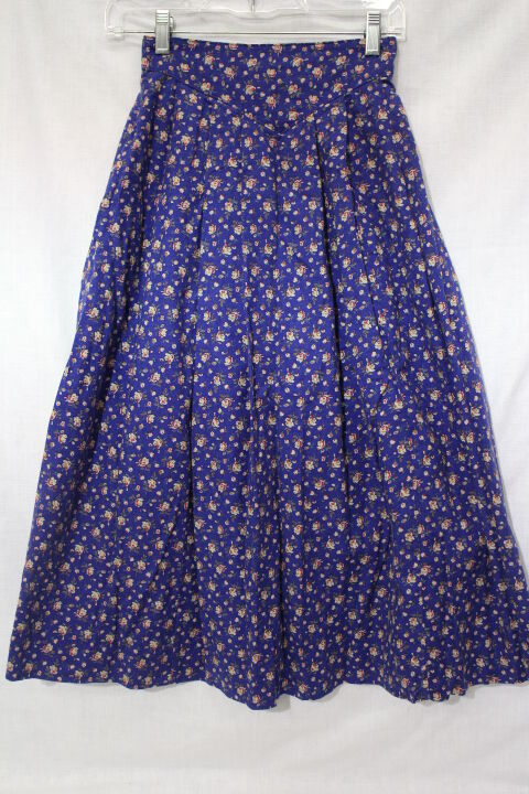 Vintage LAURA ASHLEY bluee Floral Pleated Skirt, Womens Size US 8-B52