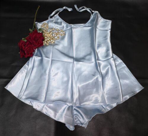 Cami Top French Knicker Set Elegant Satin  Baby Blue Size Medium