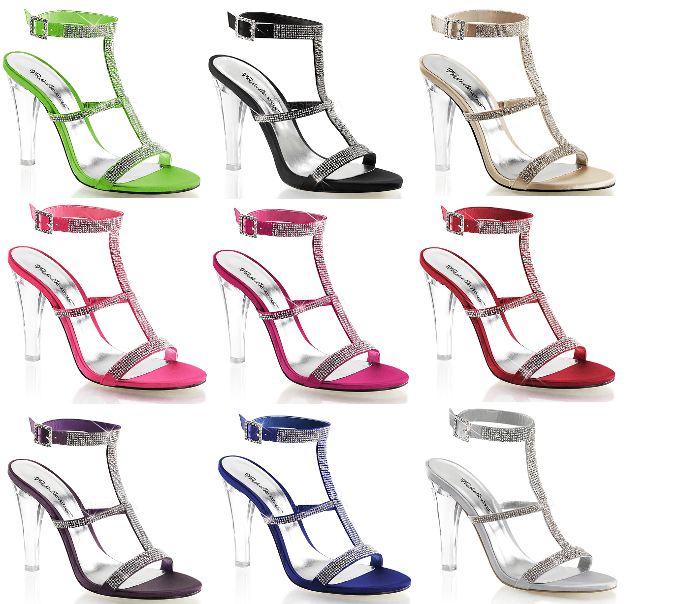 Fabulicious CLEARLY-418 T-Strap Sling Back Sandal