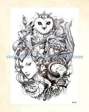 "US Seller- totem hawk skull owl 8.25"" tattoo temporary temp tattoos for adults"