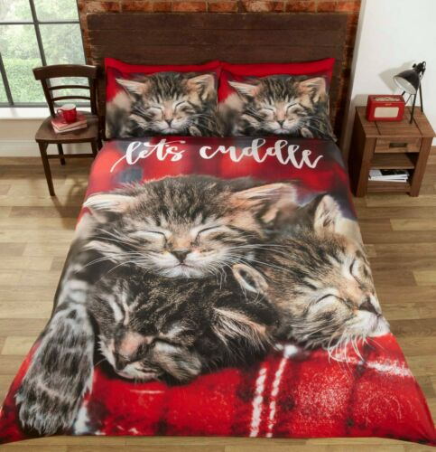 """Rapport /""""Cuddle Cats/"""" Let/'s Cuddle Easy Care Duvet Cover Bedding Set Red Multi"""