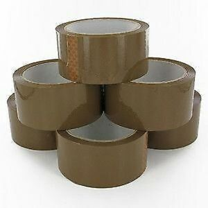 Brown-Parcel-Tape-48mm-x-66M-Packing-Sticky-Selotape-Rolls-FAST-DISPATCH
