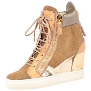 Image is loading Authentic-Giuseppe-Zanotti-Wedge-Sneaker-Boot-Gold-Beige-