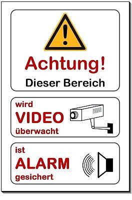 Überwachungstechnik Alarm+video-Überwachung-alu-schild-3 Größ-0,5-3 Mm Dick-warnschild-hinweisschild äRger LöSchen Und Durst LöSchen Überwachungstechnik-teile & -zubehör