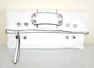 BORSELLO-BIANCO-donna-pochette-a-mano-borsa-pelle-tracolla-clutch-sac-E185