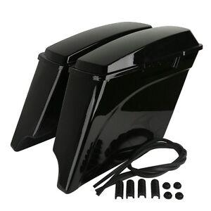 """Vivid Black 5"""" Extended Hard Saddlebags Trunk For Harley Touring FLH FLT 93-13"""