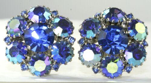 VTG WARNER BLUE RHINESTONE CLIP EARRINGS - image 1