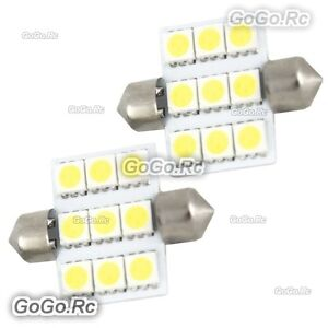 2 x White 36mm 9 LED 5050 SMD Festoon Dome Car Light Interior Bulb LE012-09WH36