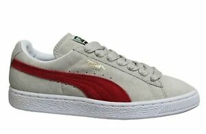 Puma-Suede-Classic-Leather-Silver-Birch-Red-Low-Lace-Up-Mens-Trainers-350734-63