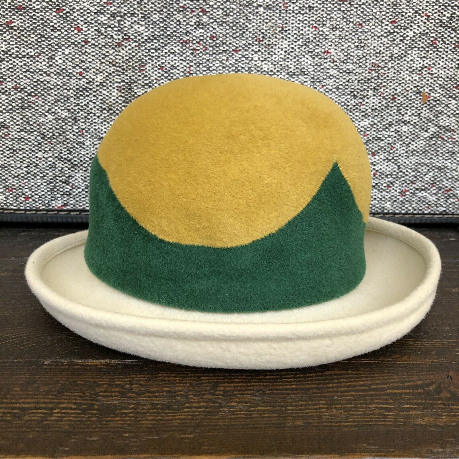 Amazing Hipster VTG Anita Pineault Yellow & Green Bowler Hat Made in Canada